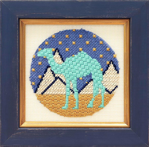 Framed Camel Crosstitch